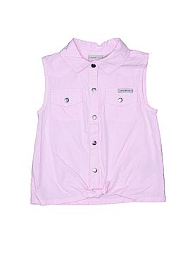 CALVIN KLEIN JEANS Sleeveless Button-Down Shirt Size 6