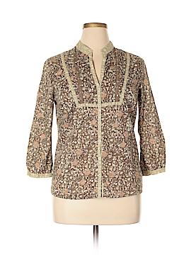 Tint 3/4 Sleeve Button-Down Shirt Size L