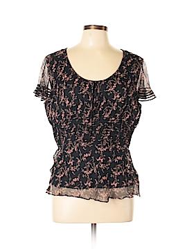 ECI Short Sleeve Silk Top Size L