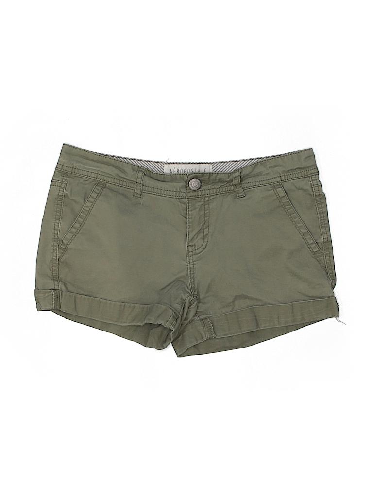 91e1f389ea05b Aeropostale Solid Green Khaki Shorts Size 4 - 95% off