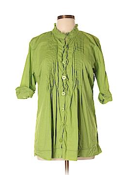 Hannah 3/4 Sleeve Button-Down Shirt Size L