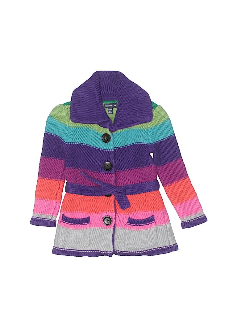 5c4c0576f Baby Gap Outlet 100% Cotton Stripes Dark Purple Cardigan Size 12-18 ...