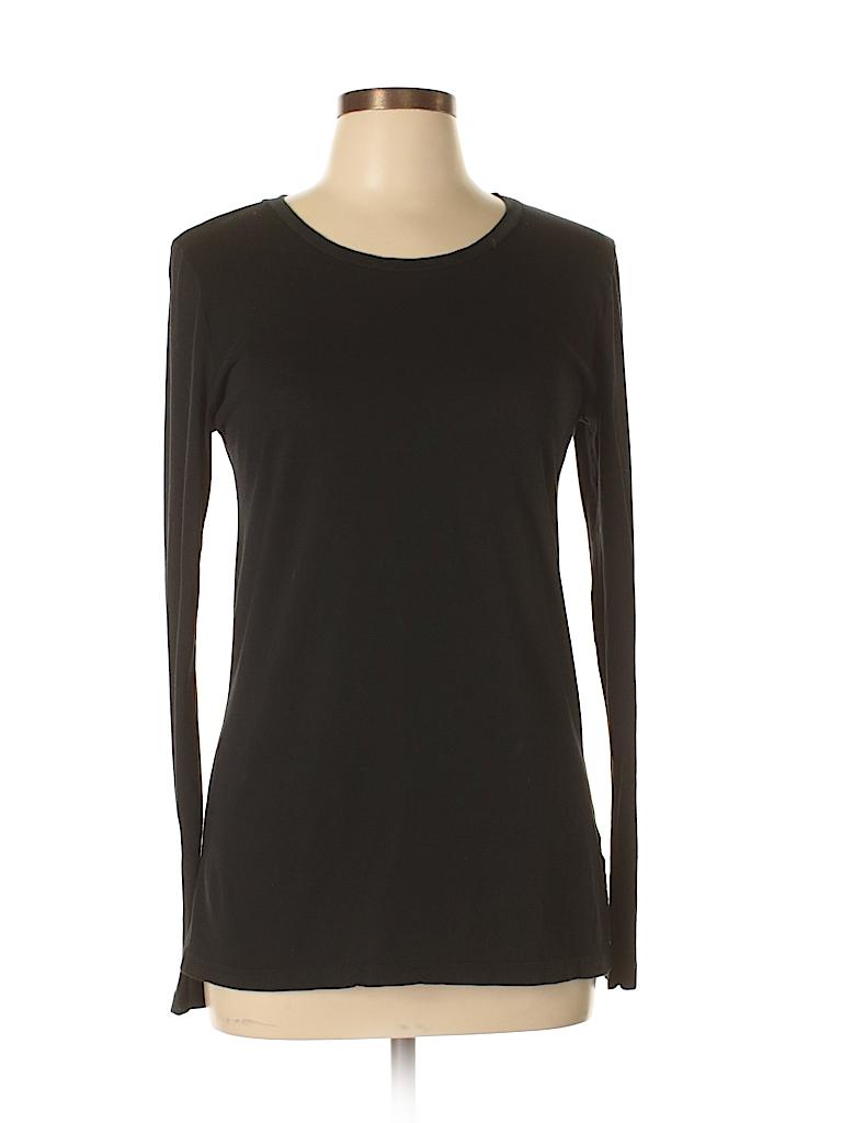 3281b60974 Susina 100% Pima Cotton Solid Black Long Sleeve T-Shirt Size L - 58 ...
