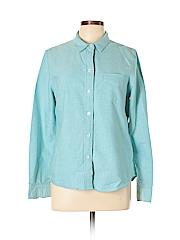 Broadway & Broome Women Long Sleeve Button-Down Shirt Size L