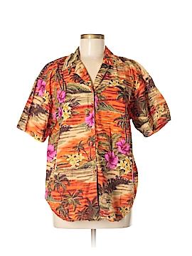 Sun Streak by Newport News Short Sleeve Button-Down Shirt Size M