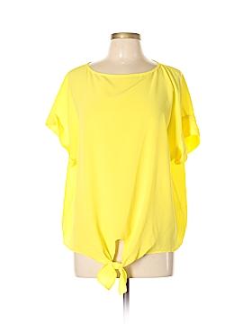 Lafayette 148 New York Short Sleeve Silk Top Size L