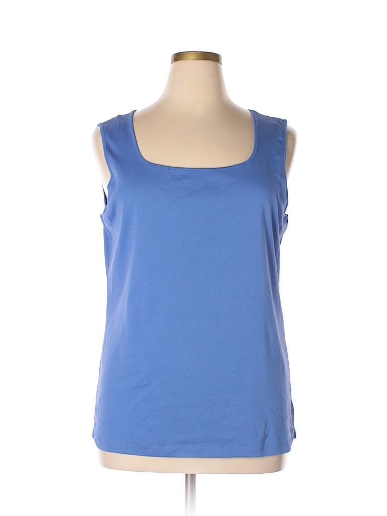 98d2b8d139957d Karen Scott 100% Cotton Solid Blue Tank Top Size 1X (Plus) - 83% off ...