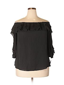 INC International Concepts Short Sleeve Blouse Size 0X (Plus)