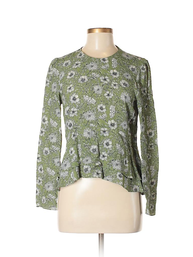 acf30225616d Zara Floral Green Long Sleeve Blouse Size M - 52% off | thredUP