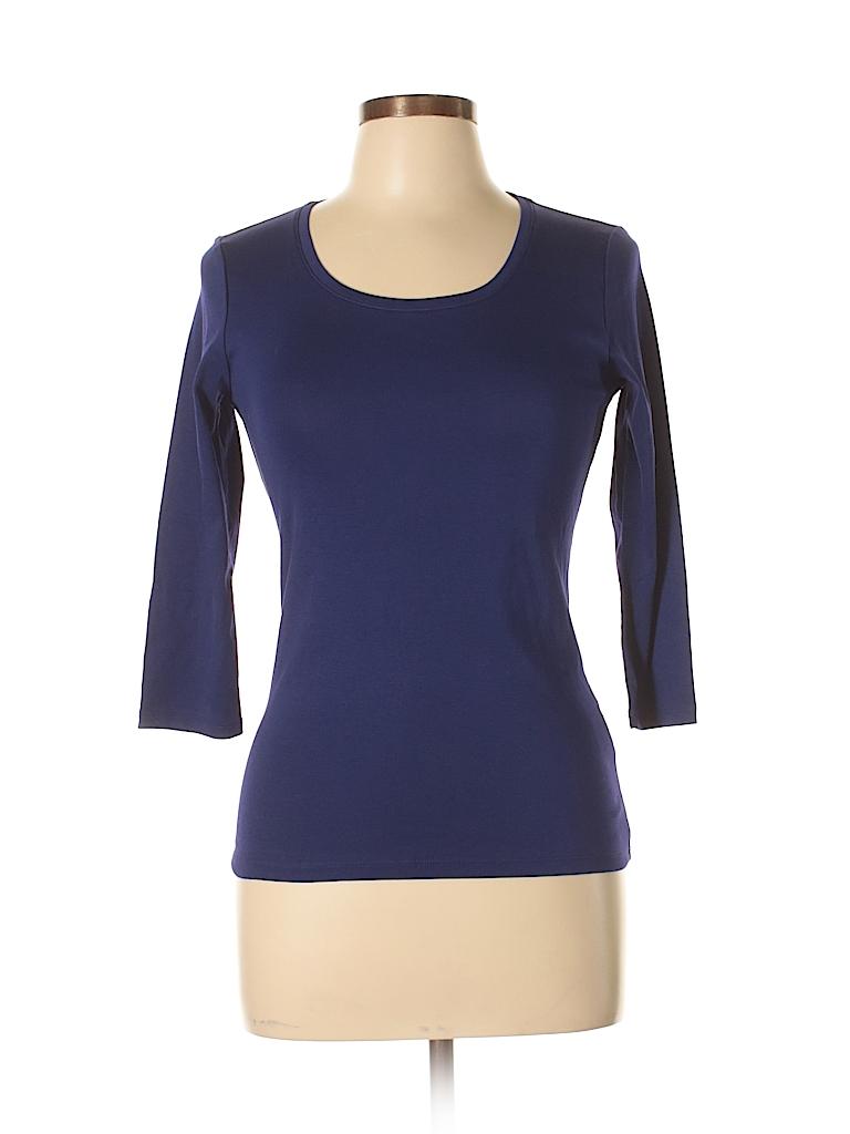Uniqlo 100 supima cotton solid dark purple 3 4 sleeve t for Uniqlo t shirt sizing