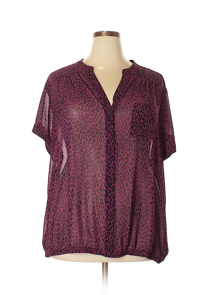 Torrid 100 Polyester Animal Print Dark Purple Short Sleeve Button