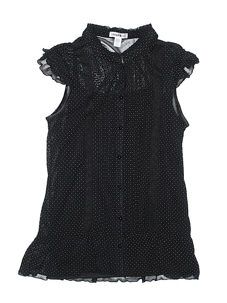 3ad3050fb97a78 Limited Too 100% Nylon Polka Dots Black Short Sleeve Blouse Size 20 ...