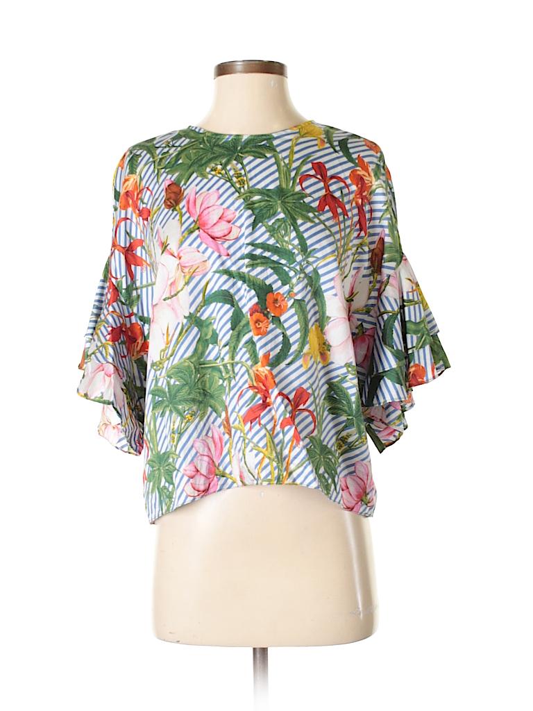 11d5cd1b86e0 Zara Floral Stripes Dark Green 3/4 Sleeve Blouse Size M - 58% off ...