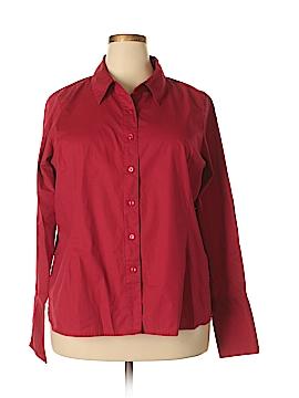 Denim & Co Long Sleeve Button-Down Shirt Size 1X (Plus)
