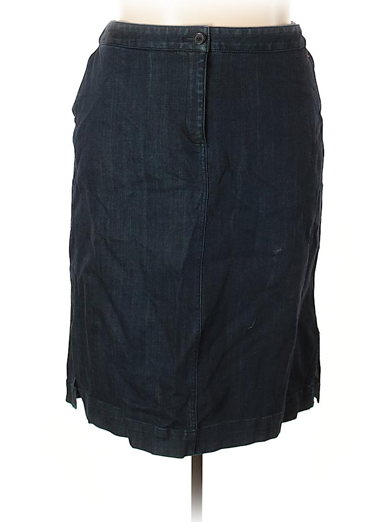 f8d3254422617 Lands  End Solid Dark Blue Denim Skirt Size 24W (Plus) - 77% off ...