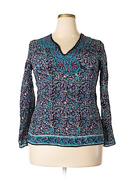Tolani Long Sleeve Silk Top Size L