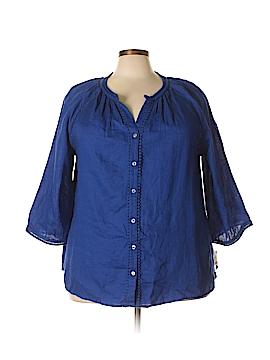 Charter Club 3/4 Sleeve Button-Down Shirt Size 1X (Plus)