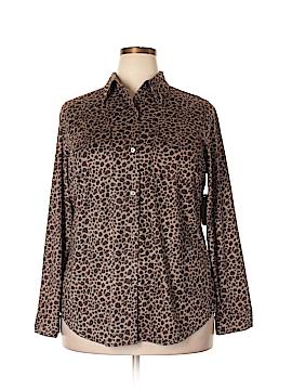 Kate Hill Long Sleeve Button-Down Shirt Size 1X (Plus)