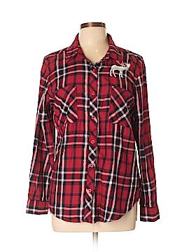 Walmart Long Sleeve Button-Down Shirt Size L