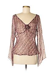 Sunny Leigh Women Long Sleeve Silk Top Size M