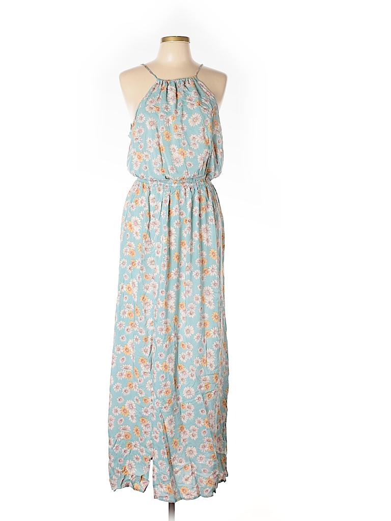 Rayon Print Light Blue Casual Dress