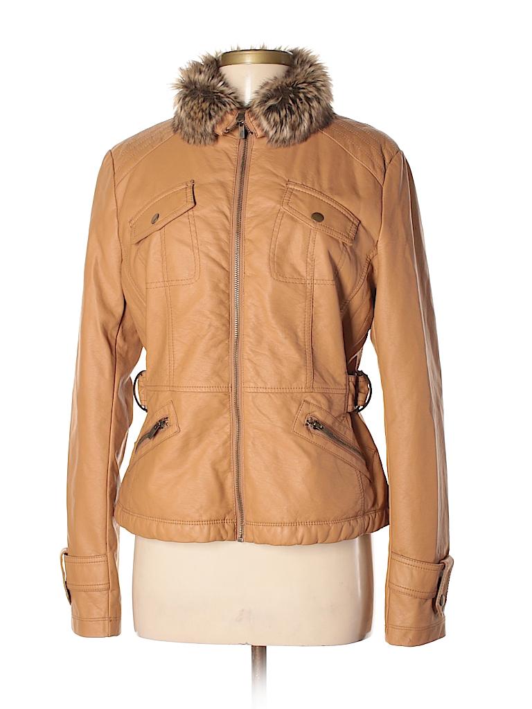 Black Rivet 100 Viscose Solid Tan Faux Leather Jacket Size M 85