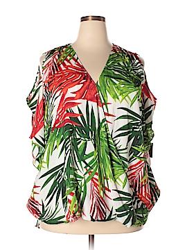 Inc Denim Short Sleeve Blouse Size 3X (Plus)