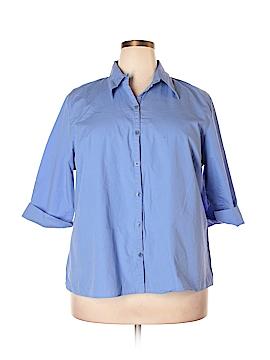 Harve Benard by Benard Haltzman 3/4 Sleeve Button-Down Shirt Size 2X (Plus)