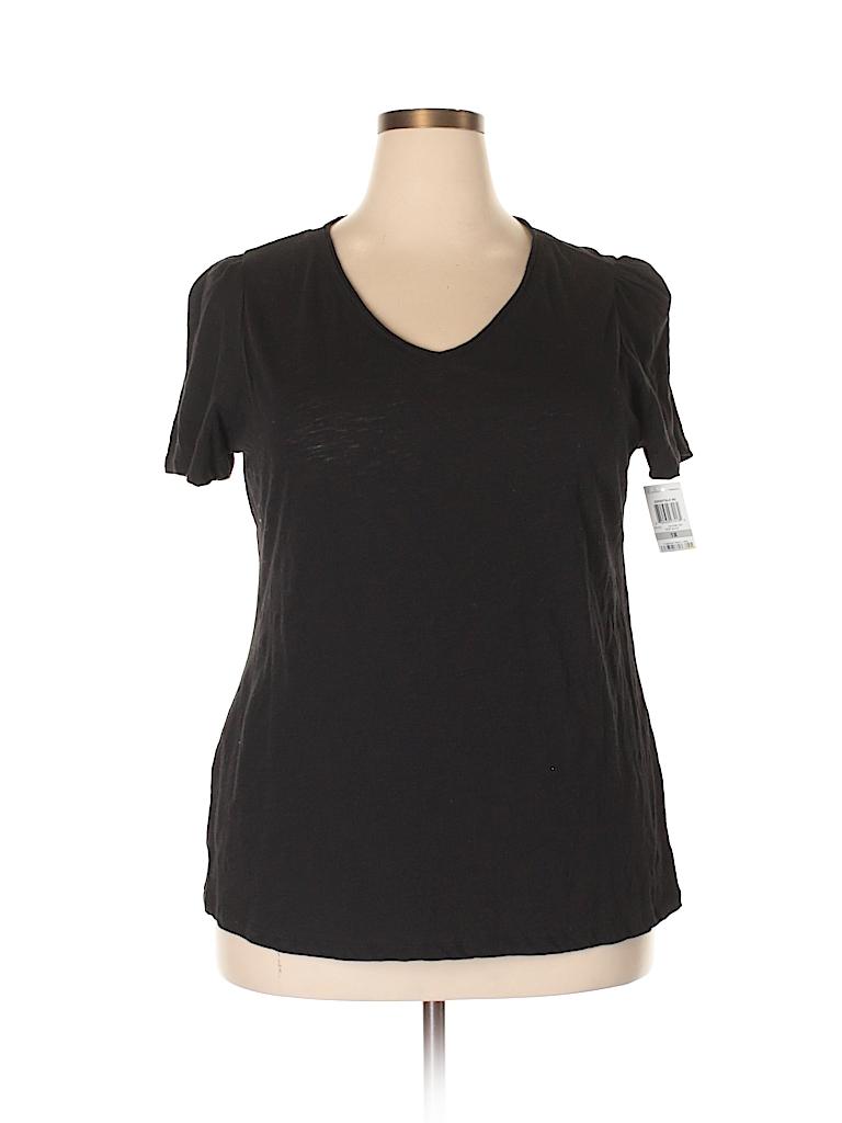 52510f75570 INC International Concepts 100% Cotton Print Black Short Sleeve T ...