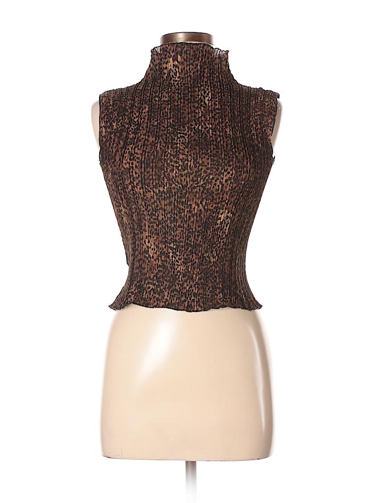 6c3b55c86ff50 Nicola 100% Polyester Animal Print Brown Sleeveless Turtleneck Size ...