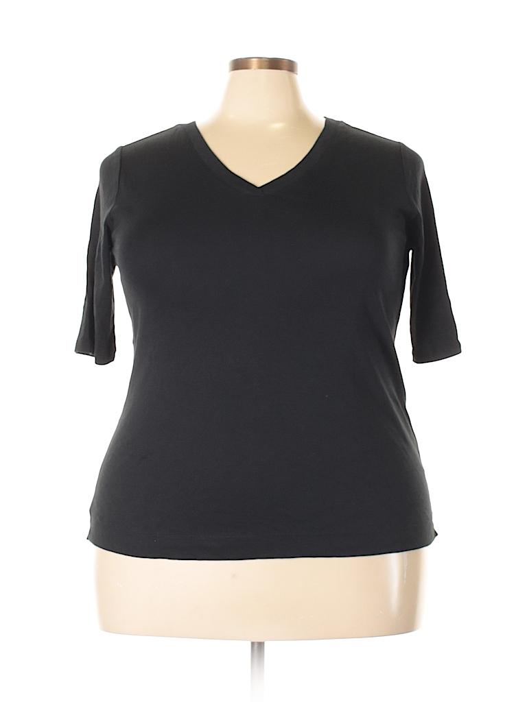 a8079e6173b J.jill 100% Pima Cotton Solid Black Short Sleeve T-Shirt Size 2X ...