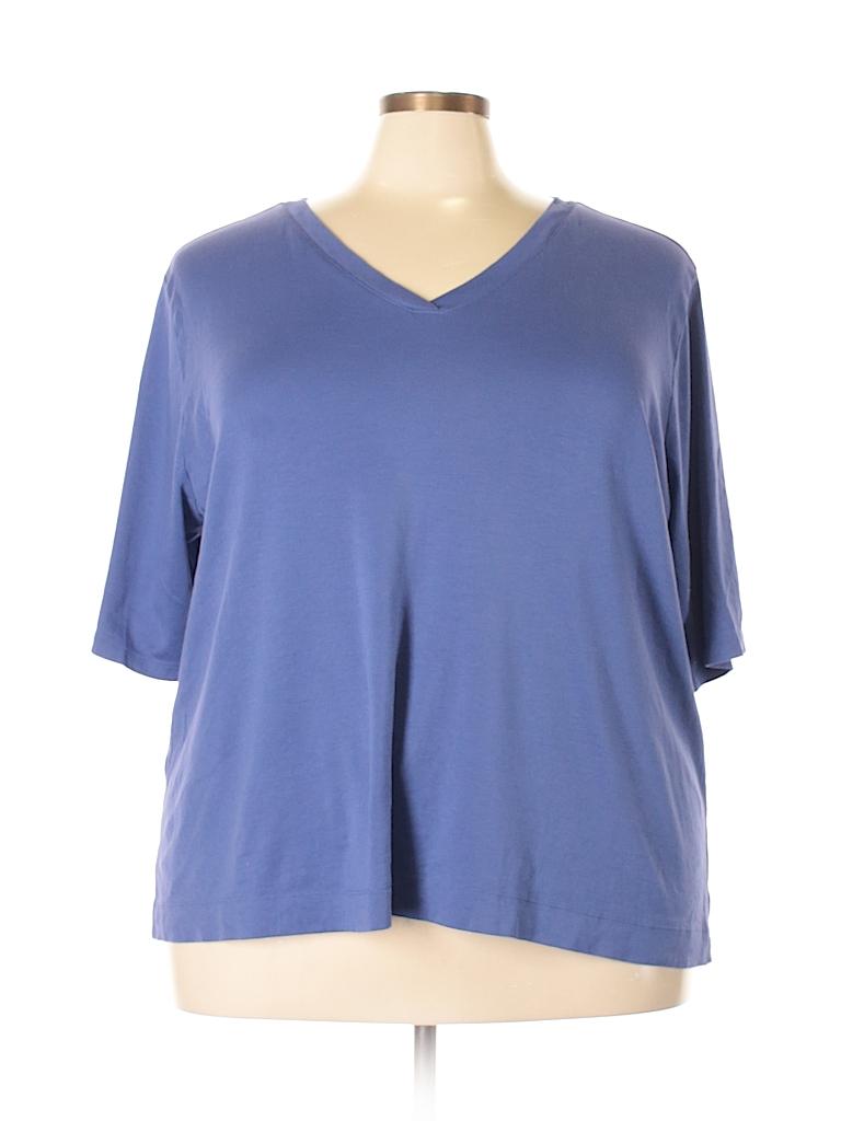 ca56afd9 J.jill 100% Pima Cotton Solid Dark Blue Short Sleeve T-Shirt Size 3X ...