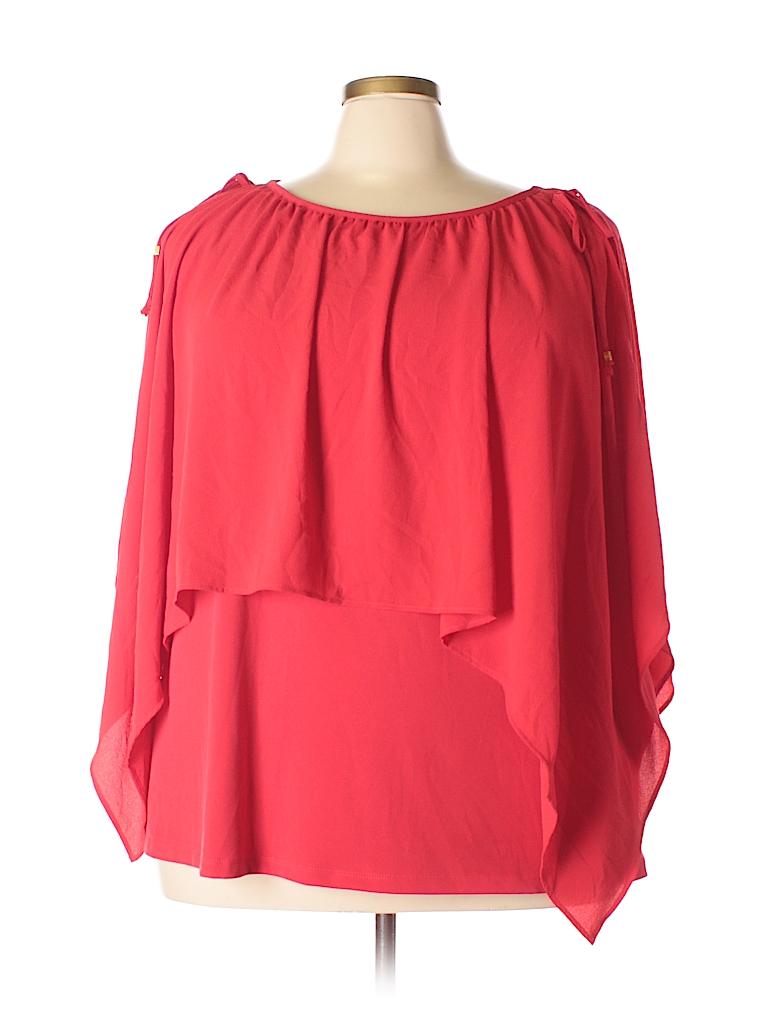 MICHAEL Michael Kors Women Short Sleeve Blouse Size 3X (Plus)