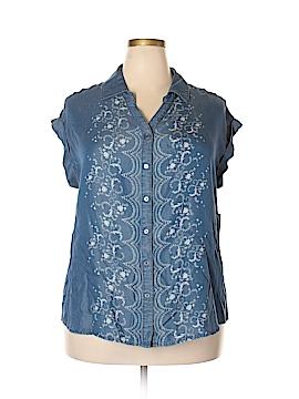 RACHEL Rachel Roy Short Sleeve Button-Down Shirt Size 1X (Plus)