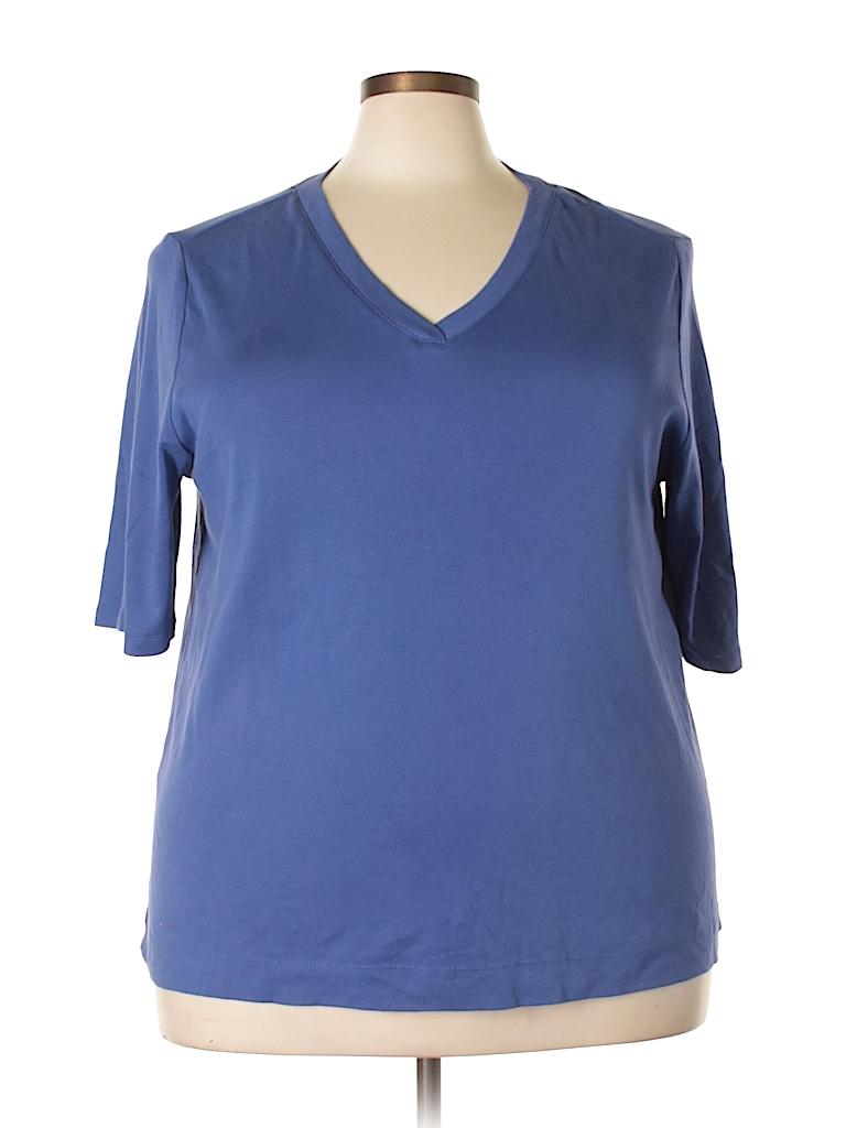 eebb480cb97 J.jill 100% Pima Cotton Solid Dark Blue Short Sleeve T-Shirt Size 1X ...