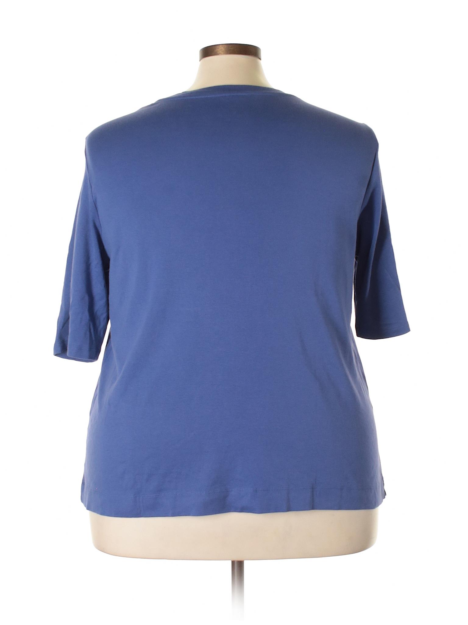5514acb9d52 J.jill 100% Pima Cotton Solid Dark Blue Short Sleeve T-Shirt Size 1X (Plus)  - 81% off