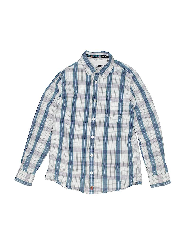 9103f0795 Ruum 100% Cotton Plaid White Long Sleeve Button-Down Shirt Size 7 ...