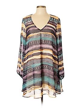 Lavender Brown Long Sleeve Blouse Size L