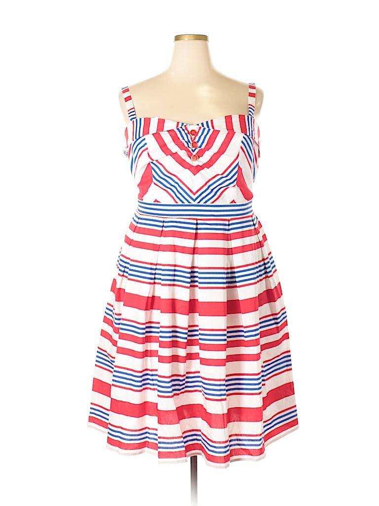 79b6d8148cc ELOQUII 100% Cotton Stripes Red Casual Dress Size 16 (Plus) - 76 ...