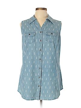 Style&Co Sleeveless Button-Down Shirt Size 0X (Plus)