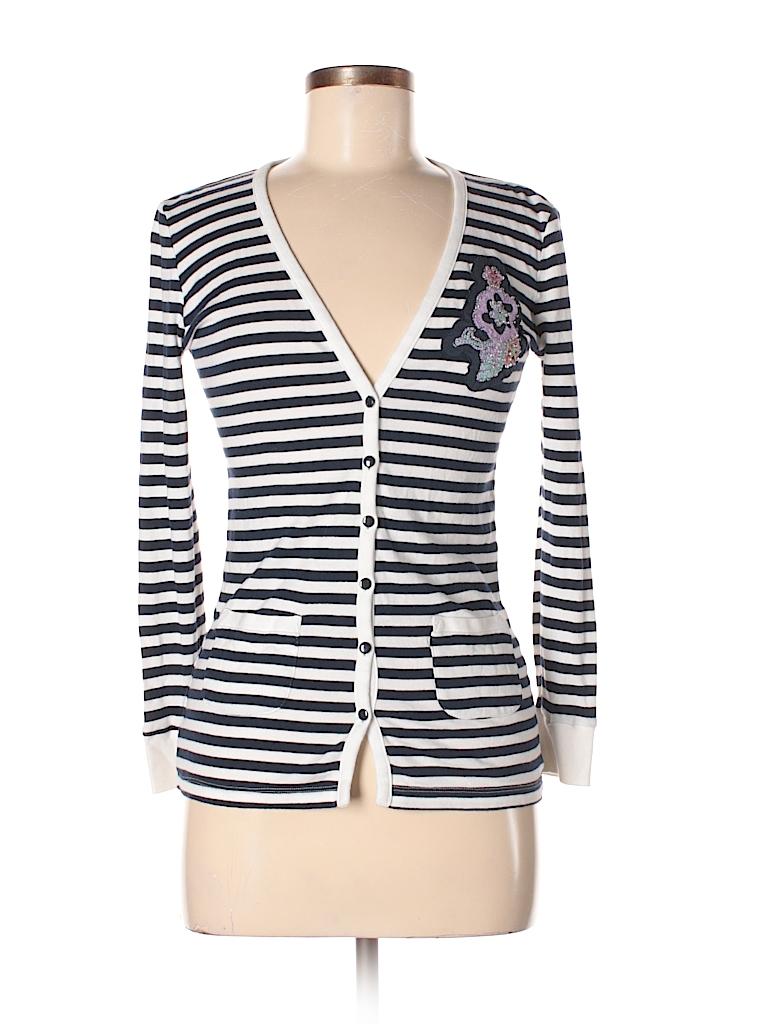 ed454a304 Ann Taylor LOFT 100% Cotton Floral Stripes Navy Blue Cardigan Size S ...