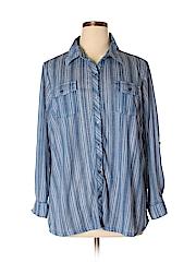 Como Vintage Women Long Sleeve Button-Down Shirt Size 2X (Plus)