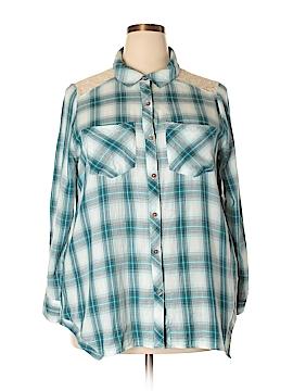 Democracy Long Sleeve Button-Down Shirt Size 1X (Plus)