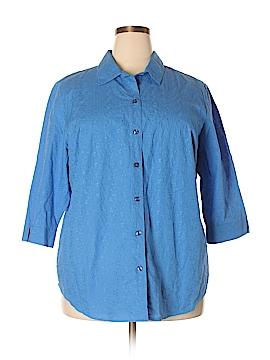 Koret 3/4 Sleeve Button-Down Shirt Size 1X (Plus)