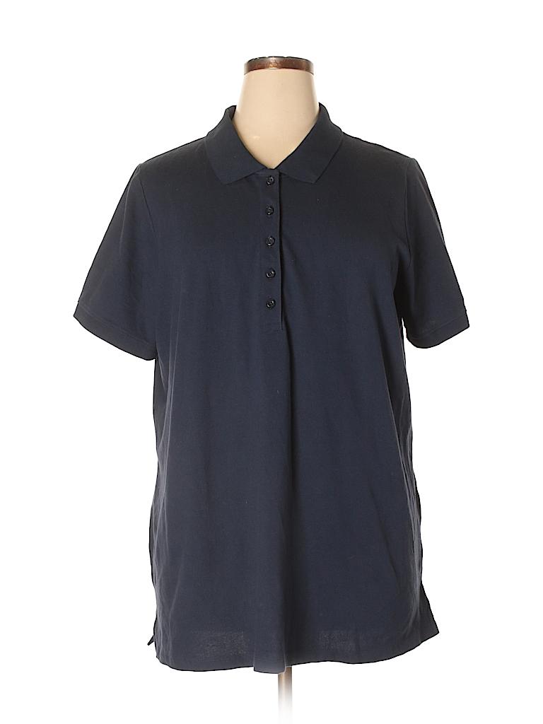 d02f5721c0f Laura Scott Solid Dark Blue Short Sleeve Polo Size 2X (Plus) - 66 ...