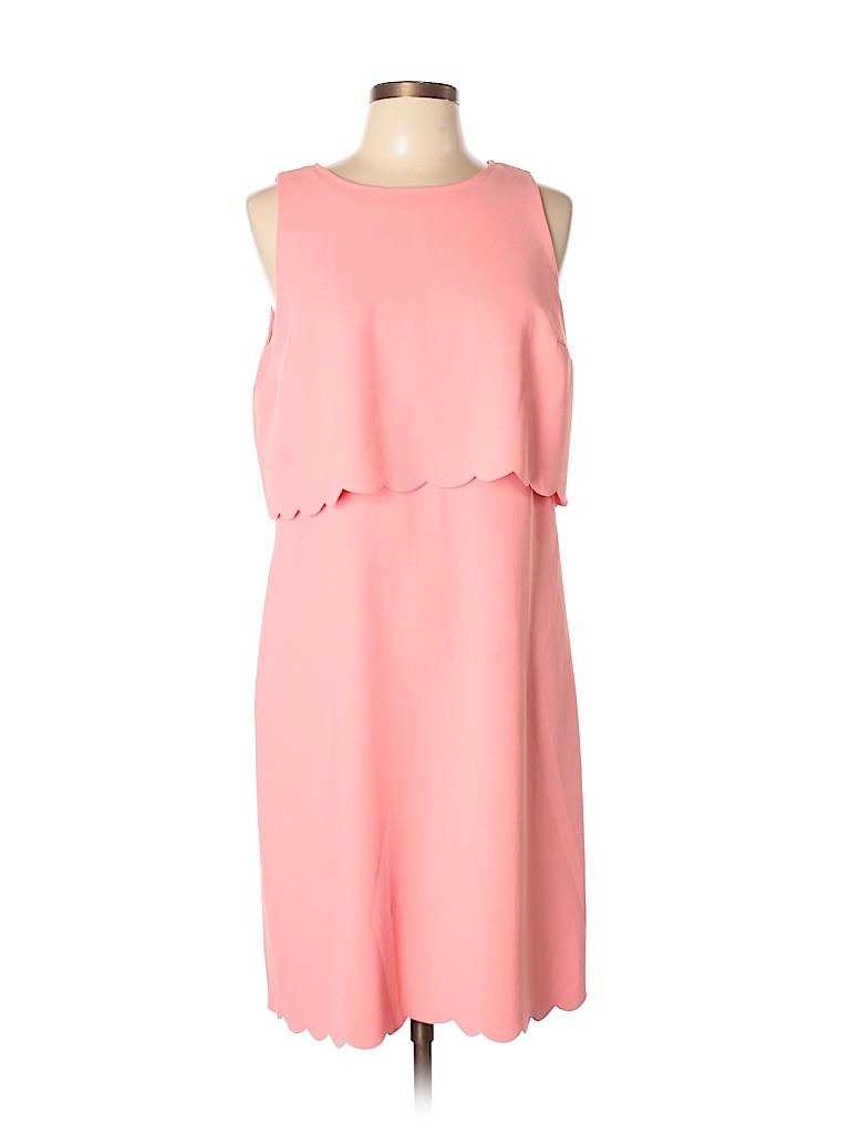 d1a09c0636 Ann Taylor LOFT 100% Polyester Solid Pink Cocktail Dress Size 20 ...