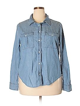 Rush Long Sleeve Button-Down Shirt Size 1X (Plus)