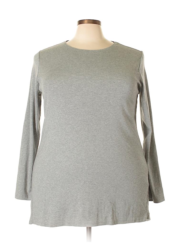 7408393bc5e J.jill 100% Pima Cotton Solid Gray Long Sleeve T-Shirt Size 3X (Plus ...