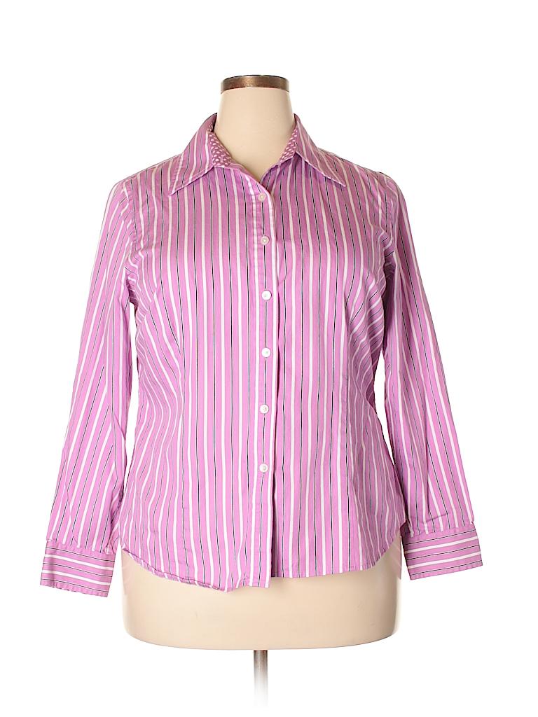 1e6c8e6d67475 Jones New York Signature 100% Cotton Stripes Purple Long Sleeve ...