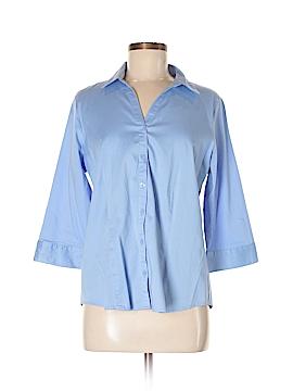 Dana Buchman 3/4 Sleeve Button-Down Shirt Size L